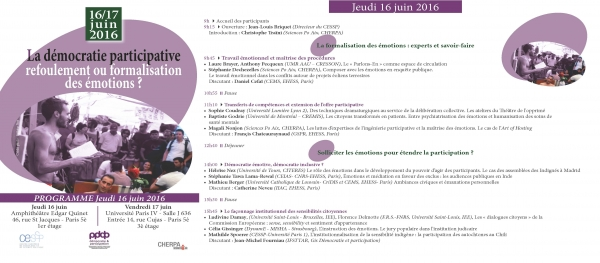 "Colloque international à Paris: ""La démocratie participative: refoulement ou formalisation des émotions? "" - 16 et 17 juin"